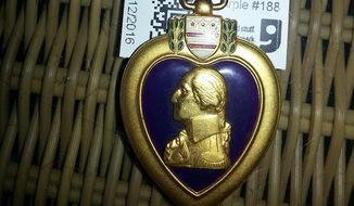 A Purple Heart belonging to a World War II veteran will soon be returned to the recipient's family after it wound up in the jewelry section of an Arizona Goodwill store. (Facebook/Laura Waldock Hardy)