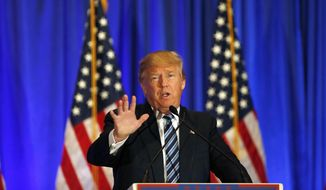 Republican presidential candidate Donald Trump speaks during a news conference in West Palm Beach, Fla., in this March 5, 2016, file photo. (AP Photo/Brynn Anderson, File)