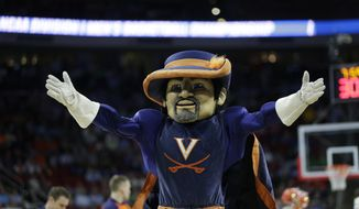 The Virginia mascot performs during the first half of a first-round men's college basketball game in the NCAA Tournament against Hampton, Thursday in Raleigh, N.C. (AP Photo/Chuck Burton)