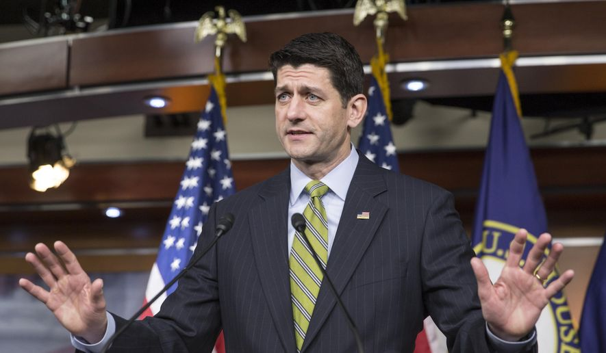 Speaker of the House Paul Ryan, R-Wis., takes questions from reporters at a weekly news conference on Capitol Hill in Washington, Thursday, March 17, 2016.  The Wisconsin Republican, thrust into the speakership after predecessor John Boehner was squeezed out, said Thursday that he is not interested in being the savior of a GOP establishment appalled by Trump. (AP Photo/J. Scott Applewhite)