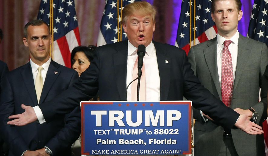 In this Tuesday, March 15, 2016, file photo, Republican presidential candidate Donald Trump speaks to supporters at his primary election night event at his Mar-a-Lago Club in Palm Beach, Fla. (AP Photo/Gerald Herbert, File)