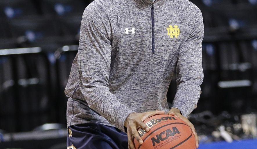 Notre Dame Fighting's Demetrius Jackson practices with teammates for a first-round men's college basketball game against Stephen F. Austin in the NCAA Tournament on Thursday, March 17, 2016, in New York. (AP Photo/Frank Franklin II)