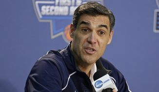Villanova head coach Jay Wright responds to questions during a news conference before Friday's first-round men's college basketball game against North Carolina-Asheville in the NCAA Tournament Thursday, March 17, 2016, in New York. (AP Photo/Frank Franklin II)