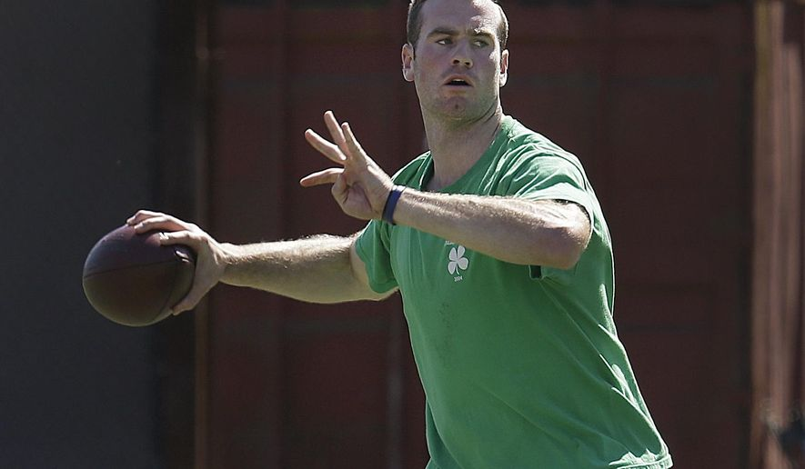 Stanford quarterback Kevin Hogan passes during Stanford's NFL football Pro Day Thursday, March 17, 2016, in Stanford, Calif. (AP Photo/Ben Margot)