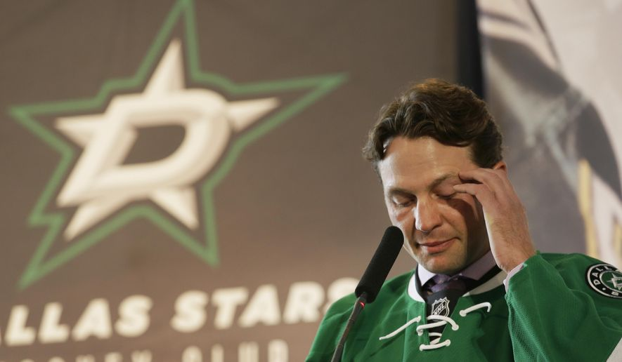 Dallas Stars' Brendan Morrow pauses to compose himself as he speaks during his retirement news conference Thursday, March 17, 2016, in Dallas. Morrow is retiring after a 15-year career that started and ended with trips to the Stanley Cup finals, but without a title and the franchise that drafted him and where he spent his first 12-plus seasons. (AP Photo/LM Otero)