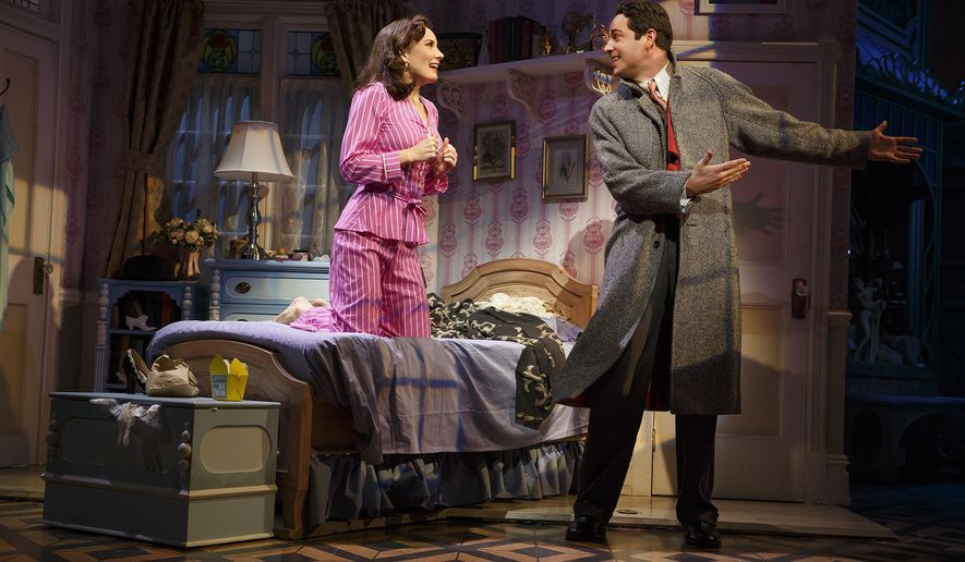 """In this image released by Polk and Co., Laura Benanti, left, and Zachary Levi appear during a performance of the musical, """"She Loves Me,"""" in New York. (Joan Marcus/Polk and Co. via AP)"""