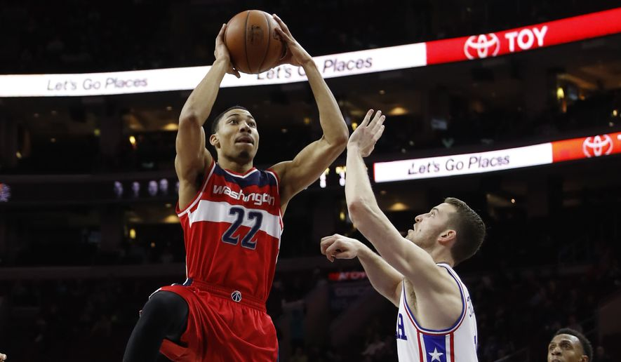 Washington Wizards' Otto Porter Jr. in action during an NBA basketball game against the Philadelphia 76ers, Thursday, March 17, 2016, in Philadelphia. (AP Photo/Matt Slocum)