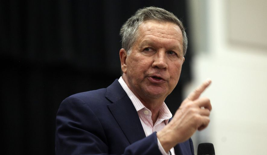 Republican presidential candidate Ohio Gov. John Kasich speaks at a town hall event at Utah Valley University, Friday, March 18, 2016, in Orem, Utah. (AP Photo/Kim Raff) ** FILE **