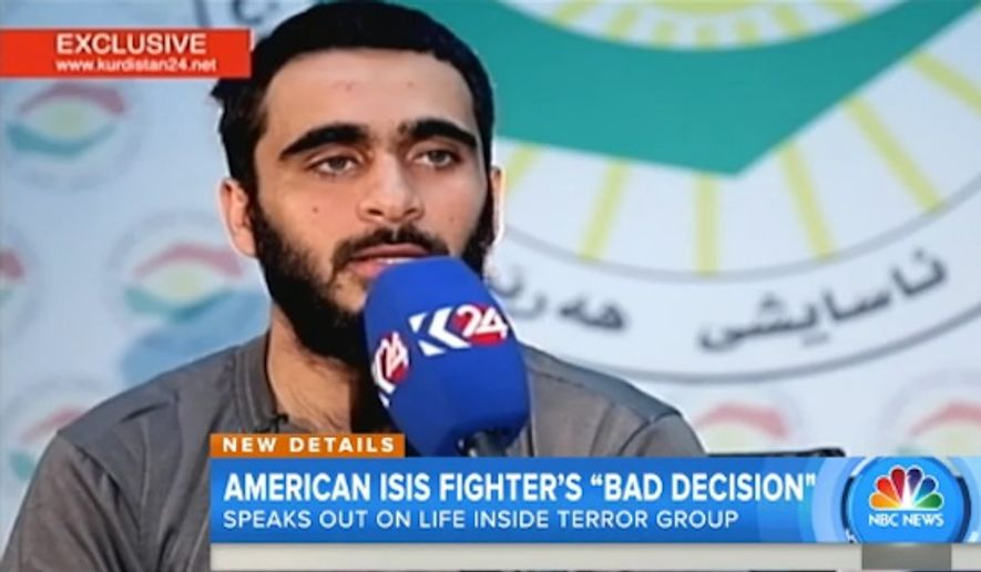 Mohamad Jamal Khweis, an American who was captured by Kurdish Peshmerga forces after he left the Islamic State group, spoke on Kurdistan 24 news station about his time with the terrorists. (Image: NBC screenshot) ** FILE **
