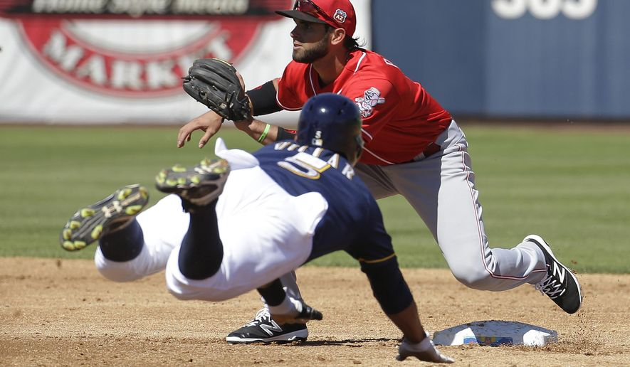 Cincinnati Reds' Jose Peraza waits for the throw as Milwaukee Brewers' Jonathan Villar dives to second during the second inning of a spring training baseball game on Friday, March 18, 2016, in Phoenix. (AP Photo/Darron Cummings)