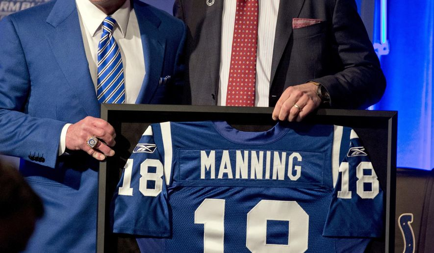 Indianapolis Colts owner Jim Irsay, left, poses with former Colts quarterback Peyton Manning after announcing the retirement of Manning's jersey during a press conference at the NFL football team's practice facility in Indianapolis, Friday, March 18, 2016. (AP Photo/Michael Conroy)