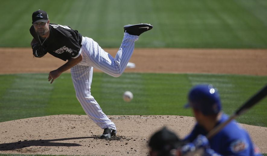 Chicago White Sox starting pitcher John Danks, left, throws against Chicago Cubs' Miguel Montero during the first inning of a spring training baseball game Friday, March 18, 2016, in Phoenix. (AP Photo/Jae C. Hong)