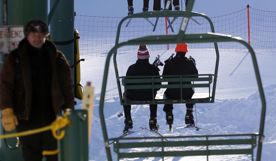 In this photo taken Feb. 10, 2016, skiers at Giants Ridge ride the chair lift in Biwabik, Minn. A new report by the Office of the Legislative Auditor suggests the structure of the Iron Range Resources and Rehabilitation Board (IRRRB) may be unconstitutional. The Office of the Legislative Auditor made that conclusion in an audit released Friday, March 18, 2016, that also shows the agency has heavily subsidized Giant's Ridge ski resort amid heavy losses. (AP Photo/Jim Mone)