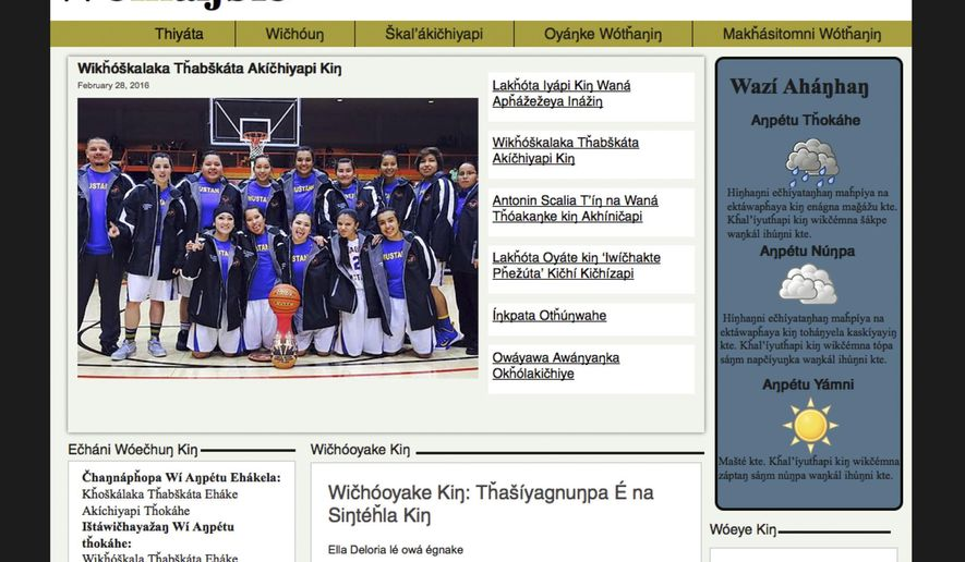 This photo shows a screen grab from the home page of the Lakota language-only web site www.wiohanble.com. Two men, Peter Hill and Matthew Rama, are responsible for the site which is the latest effort from a group on the Pine Ridge Indian Reservation trying to preserve the language. (www.woihanble.com via AP)