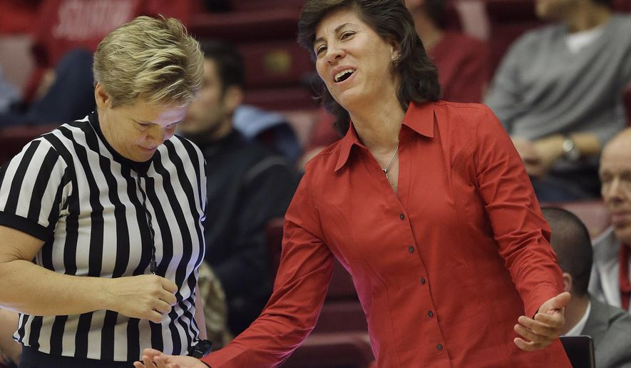 FILE - In this Dec. 16, 2013, file photo, New Mexico coach Yvonne Sanchez, right, talks to official Melissa Barlow during the first half of an NCAA college basketball game in Stanford, Calif. New Mexico is set to announce it has fired  Sanchez. The school said in a statement Vice President for Athletics Paul Krebs will host a news conference Friday, March 18, 2016, to formally announce that Sanchez has been relieved of her duties. (AP Photo/Jeff Chiu, File)