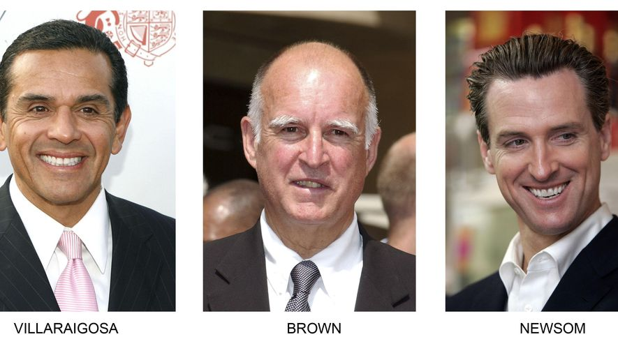 FILE - This undated file photo combination shows, from left Los Angeles Mayor Antonio Villaraigosa, California Gov. Jerry Brown and San Francisco Mayor Gavin Newsom. The presidential race is dominating headlines, but on the periphery the race to replace Brown in 2018 is gradually taking shape. Villaraigosa has made no secret of his interest in the job and in coming weeks he's expected to join a growing list of candidates and likely candidates that includes Newsom, now lieutenant governor.(AP Photo, File)