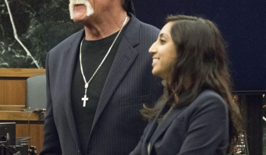 Former professional wrestler Hulk Hogan, left, along with attorney Seema Ghatnekar prepare to take a break just after the jury was handed Hogan's case against Gawker Media for deliberations on Friday, March 18, 2016, in St. Petersburg, Fla. Hogan, whose given name is Terry Bollea, is suing Gawker for $100 million for posting a video of him having sex with his former best friend's wife. Hogan contends the 2012 post violated his privacy.  (Boyzell Hosey/The Tampa Bay Times via AP, Pool)