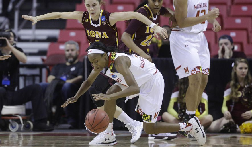 Maryland guard Shatori Walker-Kimbrough, center, tries to maintain control of the ball as she is guarded by Iona guard Marina Lizarazu in the first half of an NCAA college basketball game in the first-round of the NCAA tournament, Saturday, March 19, 2016, in College Park, Md. (AP Photo/Patrick Semansky)