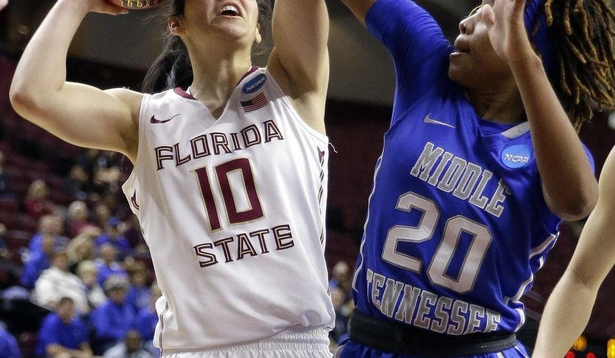 Florida State's Leticia Romero (10) shoots as Middle Tennessee's Ty Petty (20) defends during the second half of a first-round women's college basketball game in the NCAA Tournament Saturday, March 19, 2016, in College Station, Texas. Florida State won 72-55. (AP Photo/David J. Phillip)