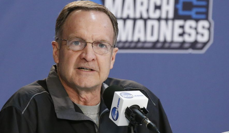 Oklahoma head coach Lon Kruger answers a question during a news conference ahead of a second-round men's college basketball game against Virginia Commonwealth in the NCAA Tournament Saturday, March 19, 2016, in Oklahoma City. (AP Photo/Sue Ogrocki)