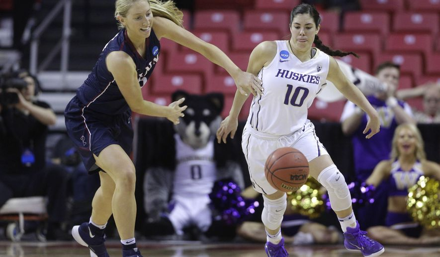 Penn center Sydney Stipanovich, left, chases a loose ball alongside Washington guard Kelsey Plum in the first half of an NCAA college basketball game in the first round of the NCAA tournament, Saturday, March 19, 2016, in College Park, Md. (AP Photo/Patrick Semansky)
