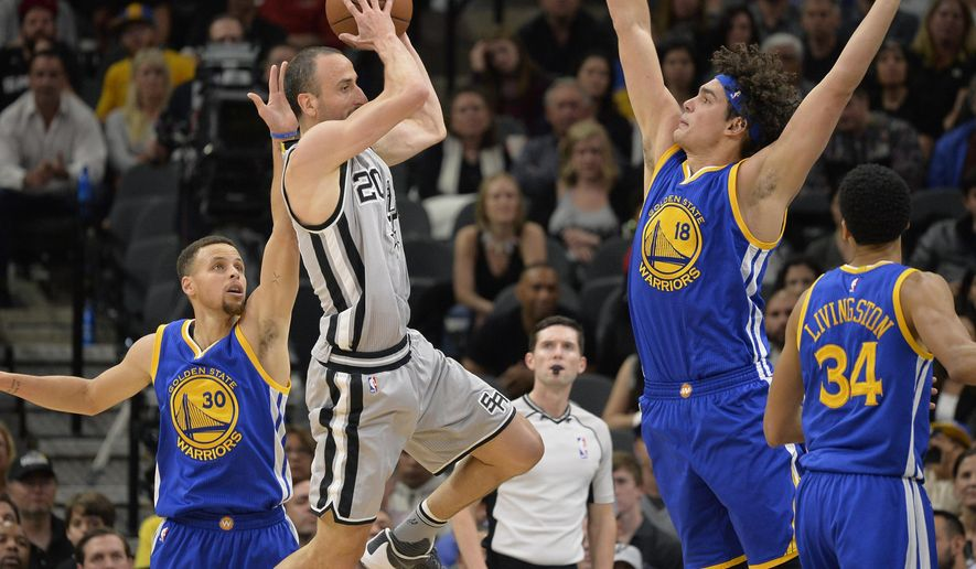 San Antonio Spurs guard Manu Ginobili (20), of Argentina, looks to pass around Golden State Warriors' Anderson Varejao (18), of Brazil, as Warriors guard Stephen Curry (30) watches during the first half of an NBA basketball game, Saturday, March 19, 2016, in San Antonio. (AP Photo/Darren Abate)