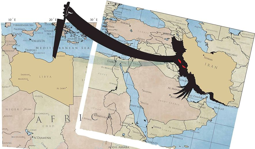 Illustration on Iranian meddling in Libya by Linas Garsys/The Washington Times