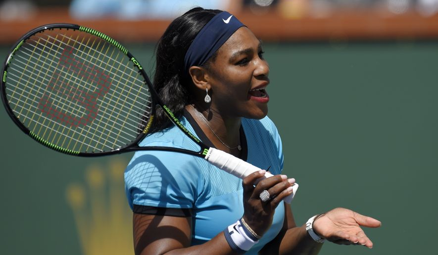 Serena Williams reacts after losing a point to Victoria Azarenka, of Belarus, in a final at the BNP Paribas Open tennis tournament, Sunday, March 20, 2016, in Indian Wells, Calif. Azarenka won 6-4, 6-4. (AP Photo/Mark J. Terrill)