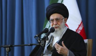 In this picture released by an official website of the office of the Iranian supreme leader on Sunday, March 20, 2016, Supreme Leader Ayatollah Ali Khamenei speaks to a crowd in the northern city of Mashhad, Iran. (Office of the Iranian Supreme Leader via AP) ** FILE **