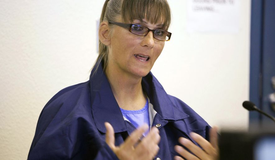FILE - In this May 21, 2015, file photo, transgender inmate Michelle Norsworthy speaks during her parole hearing at Mule Creek State Prison in Ione, Calif. Norsworthy, who was paroled after a judge ordered California to pay for her sex reassignment surgery, says she is making plans to have the surgery on her own this summer. Norsworthy told the San Francisco Chronicle she is still adjusting to life outside prison more than six months after she was released.(AP Photo/Steve Yeater, File)