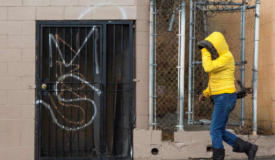 Mara Salvatrucha, a violent gang known as MS-13, marks its territory with graffiti where it operates in the U.S. (Associated Press) **FILE**