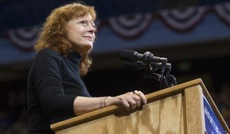 Actress Susan Sarandon introduces Democratic presidential candidate Sen. Bernie Sanders, I-Vt., speaks at a campaign rally in Boise, Idaho, Monday, March 21, 2016. (AP Photo/Otto Kitsinger)