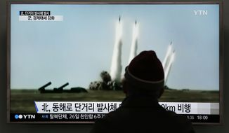 A man watches a TV screen showing a file footage of the missile launch conducted by North Korea, at Seoul Railway Station in Seoul, South Korea, Monday, March 21, 2016. North Korea fired five short-range projectiles into the sea on Monday, Seoul officials said, in a continuation of weapon launches it has carried out in an apparent response to ongoing South Korea-U.S. military drills it sees as a provocation. (AP Photo/Lee Jin-man)