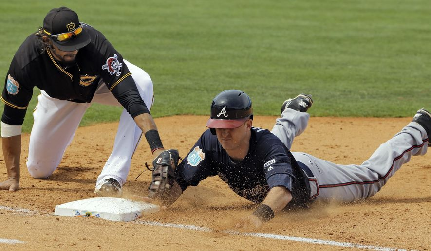 Atlanta Braves' Levi Hyams, right, dives back to first ahead of the tag by Pittsburgh Pirates first baseman Michael Morse on a pickoff-attempt during the sixth inning of a spring training baseball game Monday, March 21, 2016, in Bradenton, Fla. (AP Photo/Chris O'Meara)