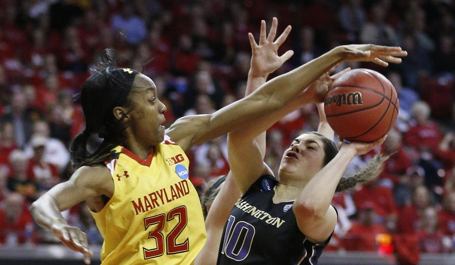 Maryland guard Shatori Walker-Kimbrough, left, attempts to block a shot-attempt by Washington guard Kelsey Plum in the first half of an NCAA college basketball game in the second round of the NCAA tournament, Monday, March 21, 2016, in College Park, Md. (AP Photo/Patrick Semansky) **FILE**