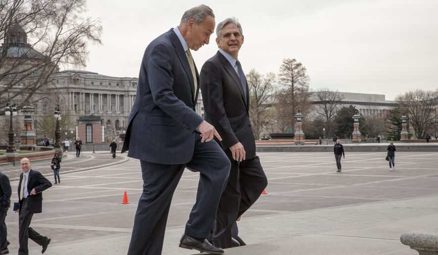Sen. Charles E. Schumer met with Judge Merrick Garland, President Obama's pick to replace the late Justice Antonin Scalia on the Supreme Court Tuesday. (Associated Press)