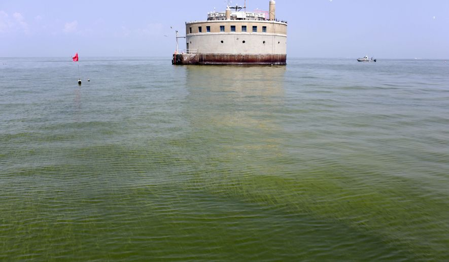 FILE - In this Aug. 3, 2014, file photo, the City of Toledo water intake crib is surrounded by algae in Lake Erie, off the shore of Curtice, Ohio. Cutting phosphorus runoff into Lake Erie enough to prevent harmful algae outbreaks would require sweeping changes on the region's farms that may include converting thousands of acres of cropland into grassland, scientists said in a report Tuesday, March 22, 2016. (AP Photo/Haraz N. Ghanbari, File)