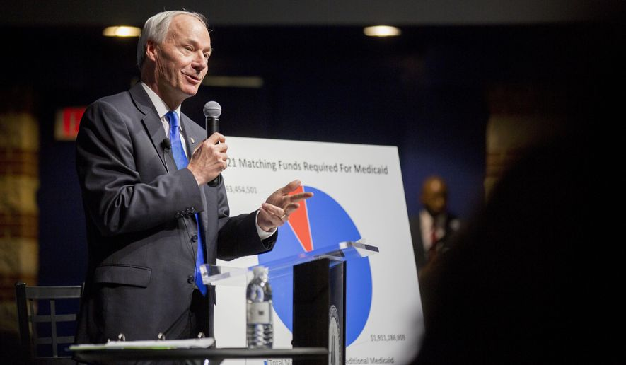 Arkansas Gov. Asa Hutchinson speaks during a town hall event about Arkansas Works at Central Baptist College, Tuesday, March 22, 2016 in Conway, Ark. (AP Photo/Gareth Patterson)