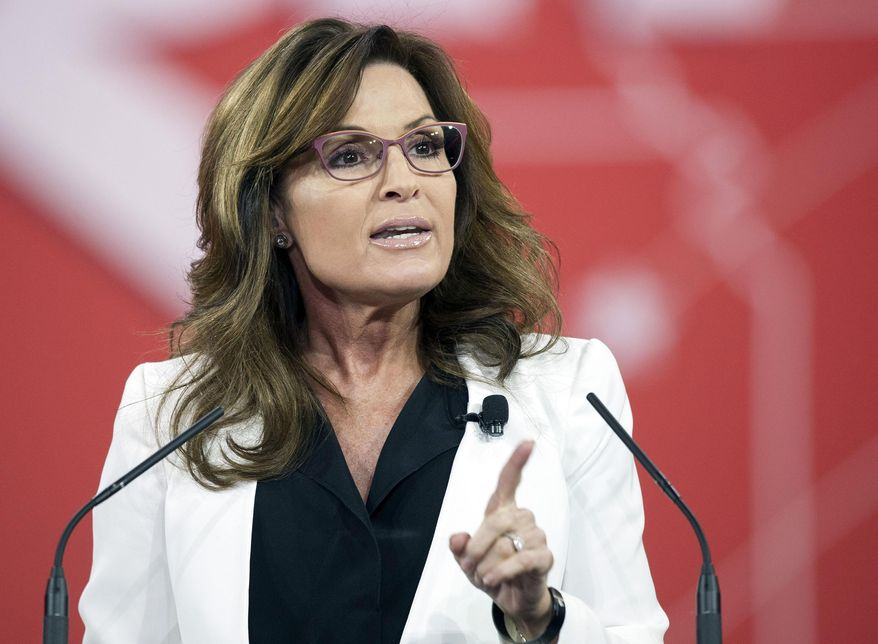 In this Feb. 26, 2015, file photo, former Alaska Gov. Sarah Palin speaks during the Conservative Political Action Conference (CPAC) in National Harbor, Md. (AP Photo/Cliff Owen, File)
