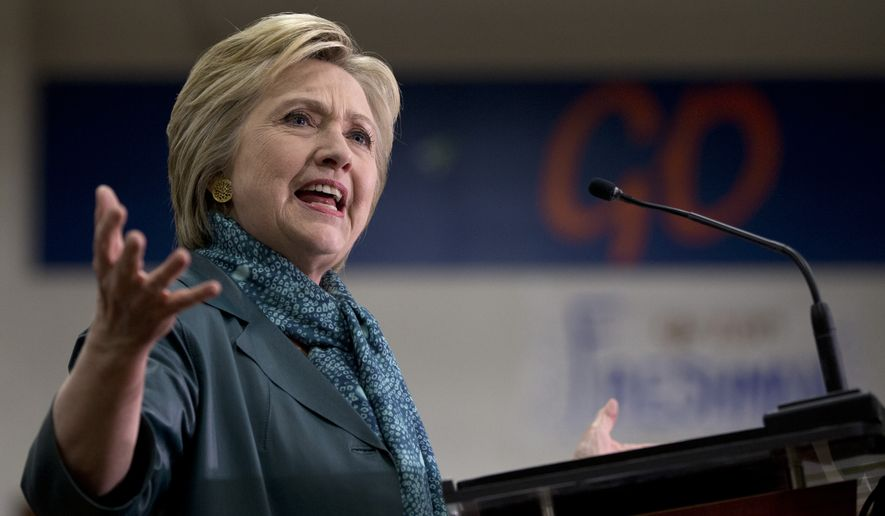"""""""It would be a serious mistake to stumble into another costly ground war in the Middle East,"""" Hillary Clinton said, referencing comments by Donald Trump and Ted Cruz that ground troops in Iraq and Syria ultimately might be necessary to turn back the Islamic State. (Associated Press)"""