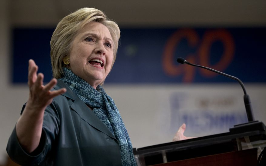 """It would be a serious mistake to stumble into another costly ground war in the Middle East,"" Hillary Clinton said, referencing comments by Donald Trump and Ted Cruz that ground troops in Iraq and Syria ultimately might be necessary to turn back the Islamic State. (Associated Press)"