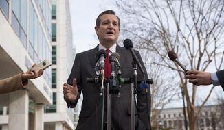 Republican presidential candidate, Sen. Ted Cruz, R-Texas speaks to the media about events in Brussels, Tuesday, March 22, 2016, near the Capitol in Washington. (AP Photo/Jacquelyn Martin)