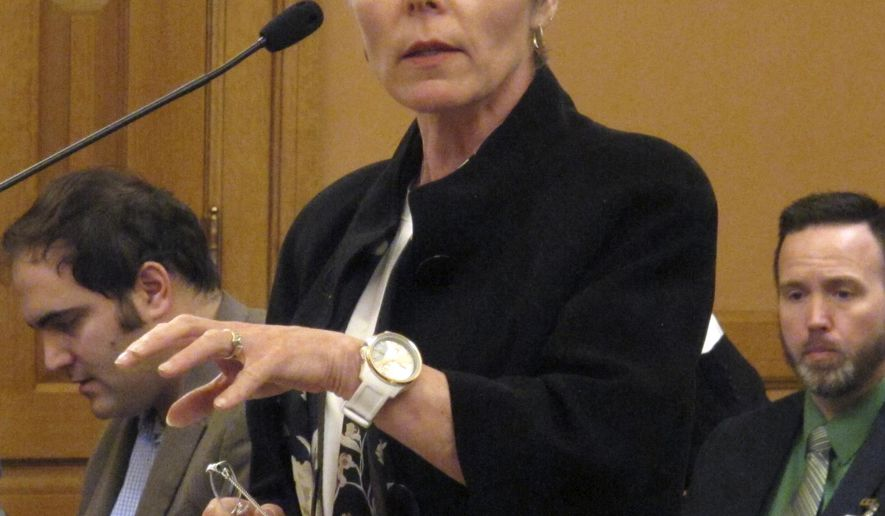 Superintendent Cynthia Lane, of the Kansas City, Kan., school district, testifies against a new school funding plan during a Senate Ways and Means Committee hearing, Wednesday, March 23, 2016, at the Statehouse in Topeka, Kan. Lane objects to the plan because it redistributes existing dollars rather than increase the state's total education funding (AP Photo/John Hanna).