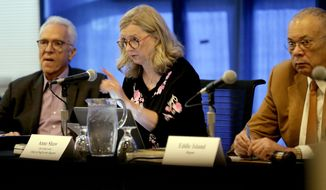 In this Oct. 26, 2015, photo, University of California regents Norman Pattiz, left, and Eddie Island, right, flank board secretary and chief of staff Anne Shawn during a public forum on how best to deal with intolerance at the university, on the campus at UCLA in Los Angeles. A UC Board of Regents panel is scheduled to vote Wednesday, March 23, 2016, on the declaration drafted by a committee after an earlier version by UC President Janet Napolitano's office did not explicitly condemn prejudice against Jewish people. (AP Photo/Nick Ut, File)
