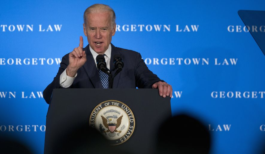 Vice President Joe Biden speaks at Georgetown Law School in Washington, Thursday, March 24, 2016. Biden is pointing to his years as Senate Judiciary Committee chairman to cast Republicans' election-year Supreme Court blockade as a dangerous new escalation of partisanship. In a speech at Georgetown Law School, Biden, took credit for moving eight Supreme Court nominees through the committee and to a vote on the Senate floor.   (AP Photo/Manuel Balce Ceneta)