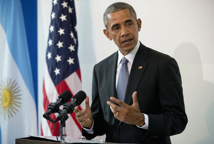 President Barack Obama speaks during a joint statement with Argentine President Mauricio Macri at Parque de la Memoria in Buenos Aires, Argentina, Thursday, March 24, 2016. Obama visited the memorial to victims of the country's murderous US-backed dictatorship who were killed or went missing from 1976-1983. (AP Photo/Pablo Martinez Monsivais)