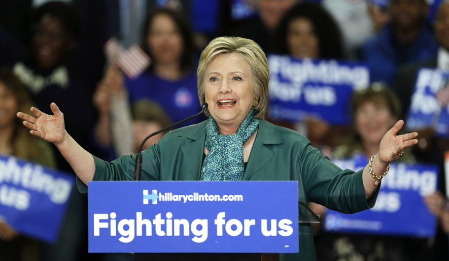Democratic presidential candidate Hillary Clinton speaks during a campaign rally at Rainier Beach High School in Seattle, in this March 22, 2016, file photo. (AP Photo/Ted S. Warren, File)