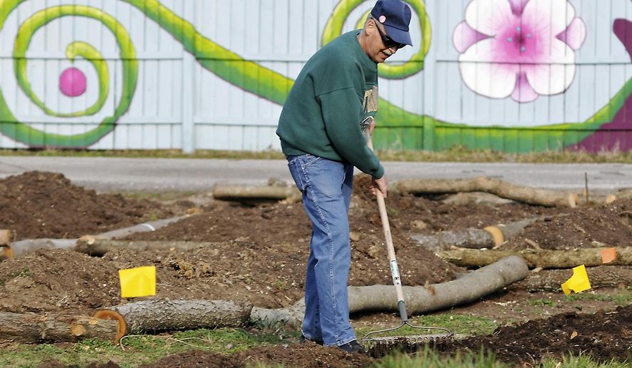 ADVANCE FOR USE SATURDAY, MARCH 26AND THEREAFTER - In this March 8, 2016 photo, Keith Powers tends the soil at a community garden located in downtown Carbondale, Ill. Powers said that more volunteers turn out on the weekend to work on the plot that he calls a food factory. Many community gardens offer a space to garden in exchange for a small amount of rent for the growing season. At other gardens, volunteers work together and share the harvest. (Richard Sitler/The Southern Illinoisan via AP) MANDATORY CREDIT