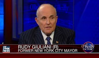 "Rudy Giuliani argued Wednesday night that former Secretary of State Hillary Clinton ""helped create"" the Islamic State terrorist group responsible for killing 34 people in Brussels this week. (Fox News)"