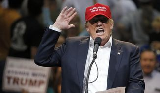 In this March 19, 2016, photo, Republican presidential candidate Donald Trump speaks during a campaign rally in Tucson, Ariz. (AP Photo/Ross D. Franklin)